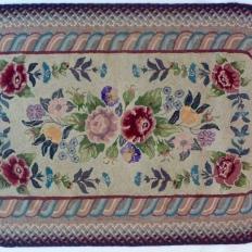 3'2″ x 5′ Vintage Hooked and Braided Wool Rug