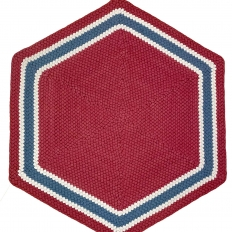 3'8″ Hexagon Wool Braided Rug