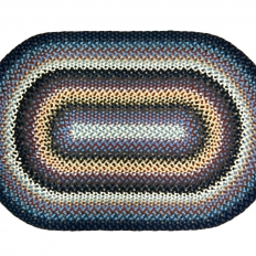 "3'11"" x 6′ Oval Wool Braided Rug"